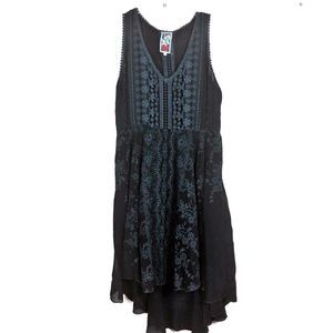Johnny Was Embroidered Navy High Low Dress Medium